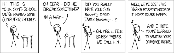 XKCD about little Bobby Tables